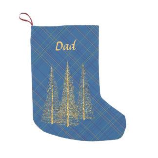 Monogram Blue Plaid Gold Trees Christmas Stocking