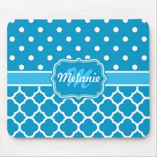Monogram Blue Quatrefoil Lattice Polka Dot Mouse Pad