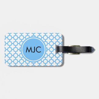 Monogram Blue Quatrefoil Pattern Luggage Tag