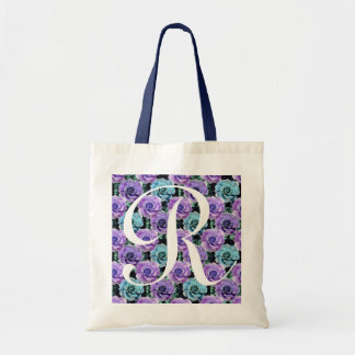 Monogram Blue Roses ToteBag Letter R Tote Bag