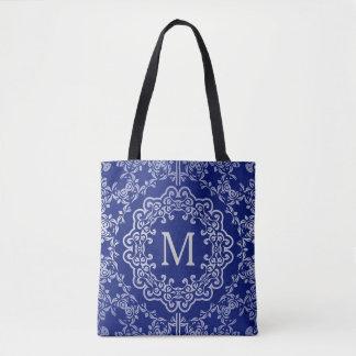 Monogram Blue & Silver Filigree Motif Tote Bag