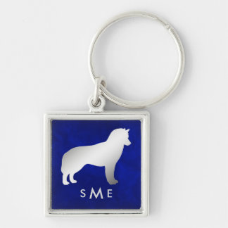 Monogram Blue Silver Siberian Husky Key Ring