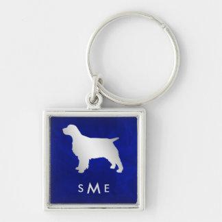 Monogram Blue Silver Spaniel Dog Key Ring