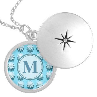 Monogram Blue Snowflake Pattern Customizable Round Locket Necklace