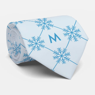 Monogram Blue Snowflakes Diagonal Square Pattern Tie