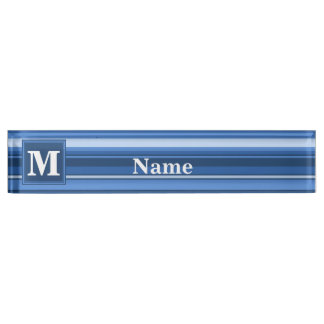 Monogram blue stripes nameplate