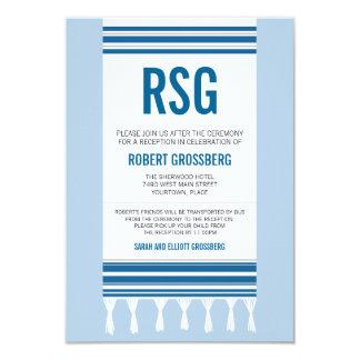 Monogram Blue Tallit Bar Mitzvah Reception Card