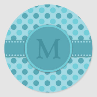 Monogram Blue Teal Polka Dots Classic Round Sticker