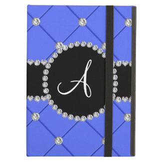 Monogram blue tuft diamonds case for iPad air
