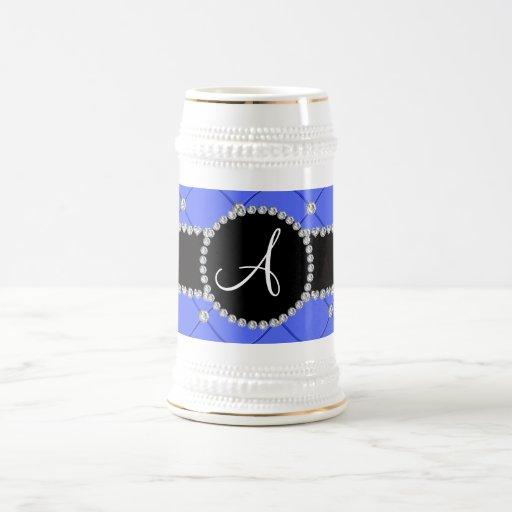Monogram blue tuft diamonds coffee mug