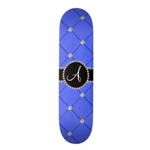 Monogram blue tuft diamonds skate board