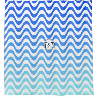 Monogram Blue Wave Pattern Shower Curtain