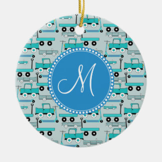 Monogram Blue Wheels Scooters Cars Wagons Trucks Ceramic Ornament