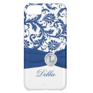 Monogram Blue, White Damask iPhone 5 Case