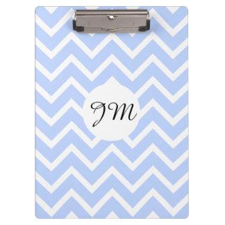 Monogram blue white pattern   Personalise Clipboard