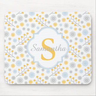 Monogram Blue Yellow & Gray Pattern Mousepad
