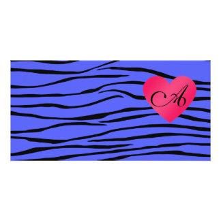 Monogram blue zebra stripes customized photo card