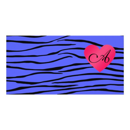 Monogram blue zebra stripes photo card template
