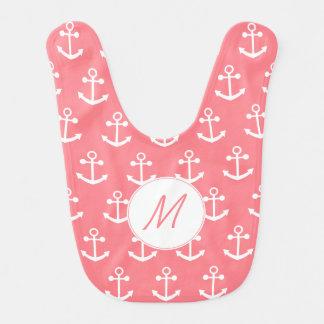 Monogram Blush Pink and White Nautical Anchor Bib