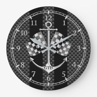 Monogram Boat Racing Nautical in Carbon Fibre Dial Large Clock