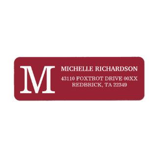Monogram Brick Red Return Address Label