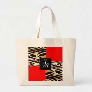 Monogram Bride and Groom Initial Save the Date Red Jumbo Tote Bag