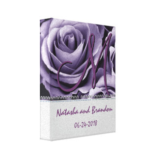 Monogram Bride and Groom with Dusty Purple Roses Stretched Canvas Prints