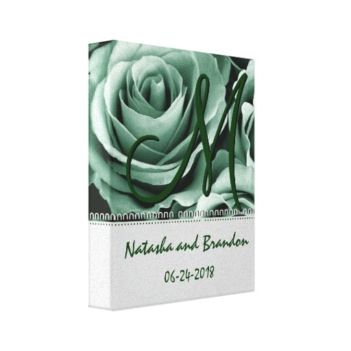 Monogram Bride and Groom with Green Roses Stretched Canvas Print