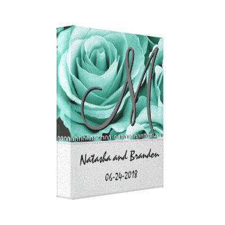 Monogram Bride and Groom with Mint Green Roses Stretched Canvas Prints