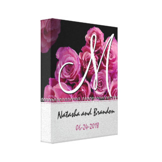 Monogram Bride and Groom with Pink Roses Gallery Wrapped Canvas