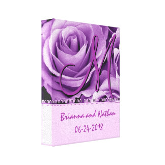 Monogram Bride and Groom with Purple Roses Canvas Prints
