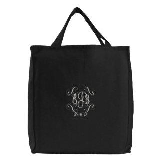 Monogram Bride&Groom Initials & Wedding Date Tote Embroidered Tote Bag