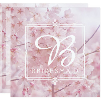 Monogram Bridesmaid Pale Pink Cherry Blossoms Card