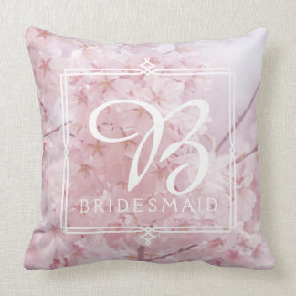 Monogram Bridesmaid Pale Pink Cherry Blossoms Cushion