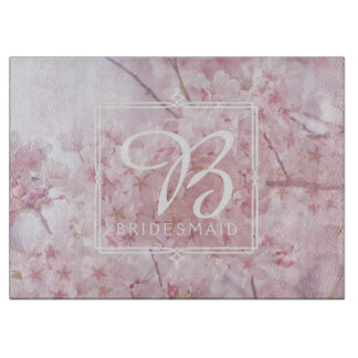 Monogram Bridesmaid Pale Pink Cherry Blossoms Cutting Board