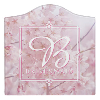 Monogram Bridesmaid Pale Pink Cherry Blossoms Door Sign
