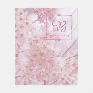 Monogram Bridesmaid Pale Pink Cherry Blossoms Fleece Blanket