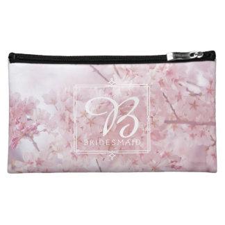 Monogram Bridesmaid Pale Pink Cherry Blossoms Makeup Bag