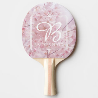 Monogram Bridesmaid Pale Pink Cherry Blossoms Ping Pong Paddle