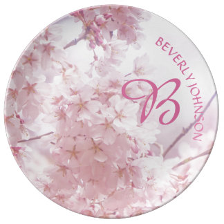 Monogram Bridesmaid Pale Pink Cherry Blossoms Plate
