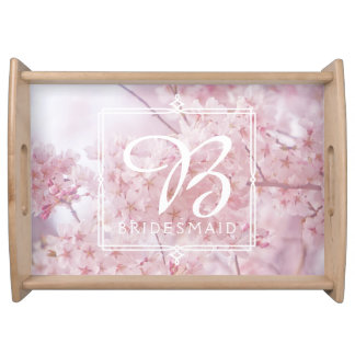 Monogram Bridesmaid Pale Pink Cherry Blossoms Serving Tray