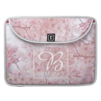 Monogram Bridesmaid Pale Pink Cherry Blossoms Sleeve For MacBook Pro