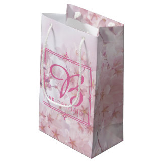 Monogram Bridesmaid Pale Pink Cherry Blossoms Small Gift Bag