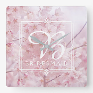 Monogram Bridesmaid Pale Pink Cherry Blossoms Square Wall Clock