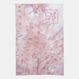 Monogram Bridesmaid Pale Pink Cherry Blossoms Tea Towel