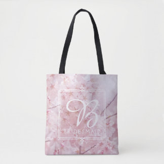Monogram Bridesmaid Pale Pink Cherry Blossoms Tote Bag