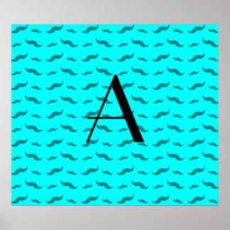Monogram bright aqua mustache pattern poster