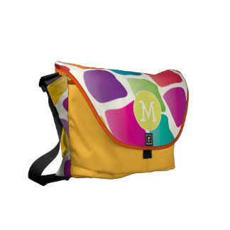 Monogram Bright Colorful Giraffe Pattern Messenger Bags