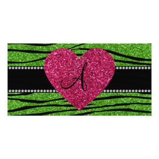 Monogram bright green glitter zebra stripes heart personalised photo card
