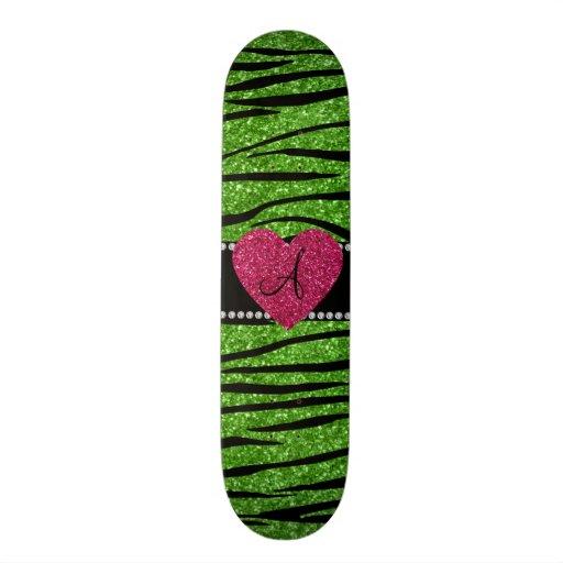 Monogram bright green glitter zebra stripes heart skate boards